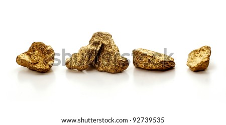 Gold Nuggets Isolated on White Background