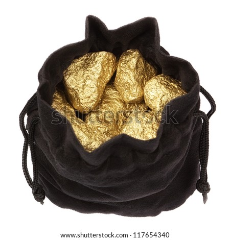 Gold nuggets stones in a bag on a white background. - stock photo