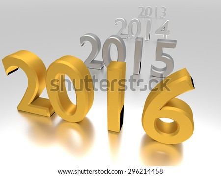 Gold numbers of New Year 2016 near old others - stock photo