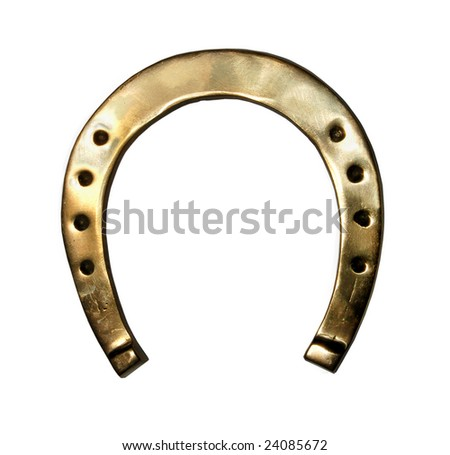 gold Old horseshoe on a white background