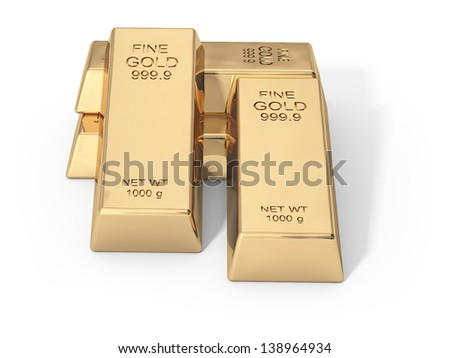 gold on a white background - stock photo
