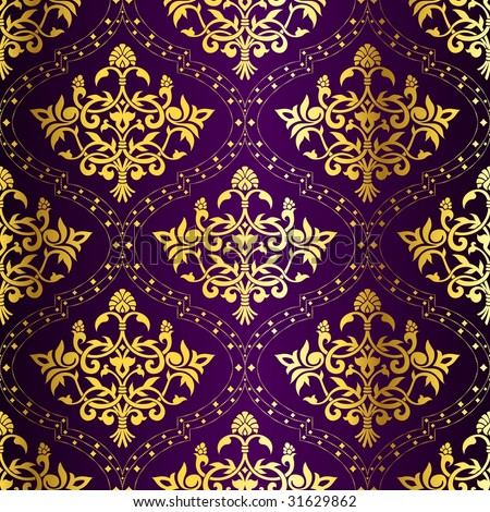Gold-on-Purple seamless Indian floral pattern (JPG); a vector version is also available - stock photo