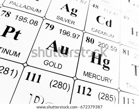 Atomic mass stock images royalty free images vectors shutterstock gold on the periodic table of the elements urtaz Image collections
