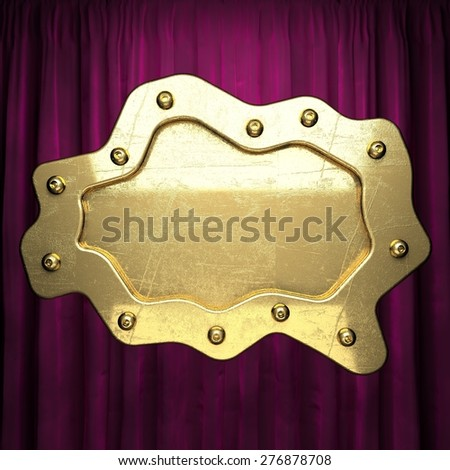 gold on velvet curtain background