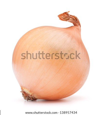 gold onion bulb on white background cutout