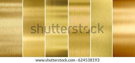 Gold or brass brushed metal textures set