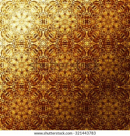 Gold Oriental Pattern Indian Traditional Elements Golden Foil Royal Texture For Textile