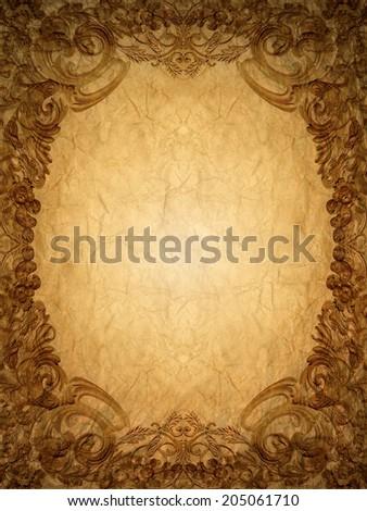 Gold ornament  flower frame vintage in old paper - stock photo