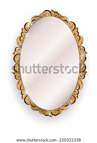 gold ornate vintage mirror - illustration - stock photo
