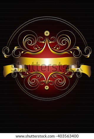Gold oval frame with curlicues, petals and flowers on black background - stock photo