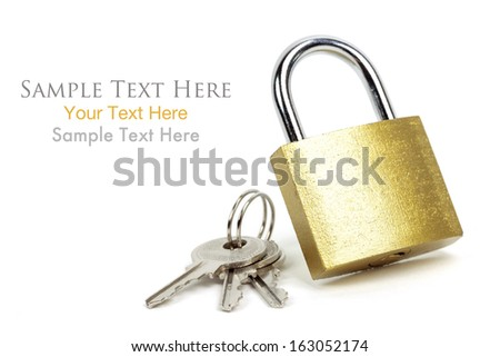 Gold Padlock with keys and easy to remove text, Isolated on white background - stock photo