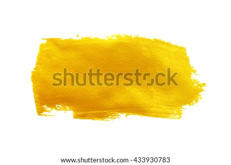 gold paint smear stroke stain on white background