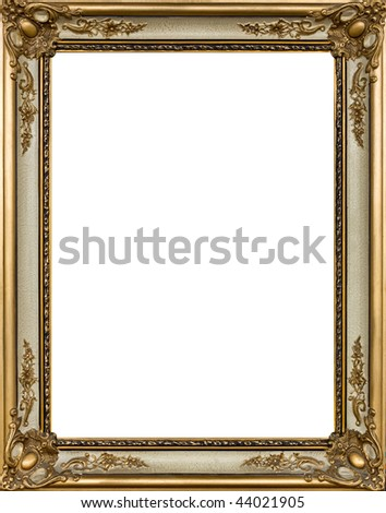 Gold painting frame with decoration - stock photo