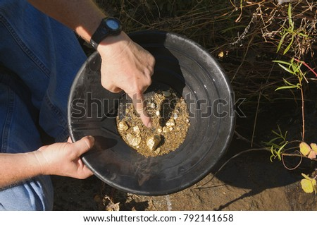 gold panning, hoping to strike it rich by finding the mother lode or at least a nugget or two
