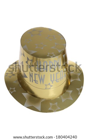Gold paper hat with Happy New Year on front with white background  - stock photo