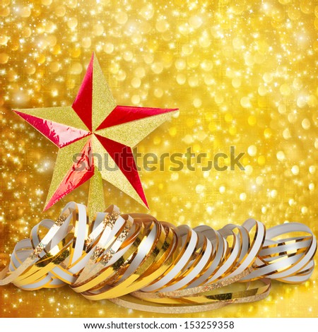 Gold paper horizontal ribbon and Christmas star on abstract snowy background