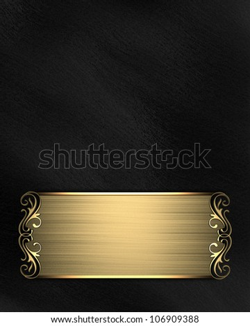Gold pattern on a black nameplate on a red background - stock photo