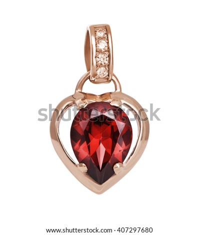 Gold Pendant with ruby - stock photo