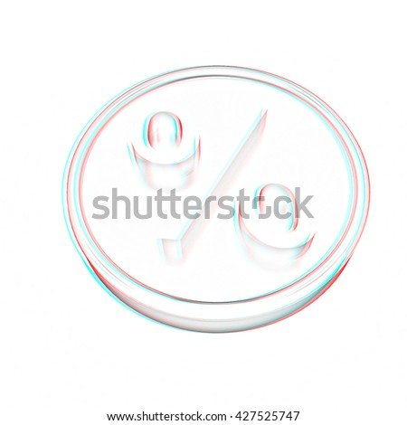 Gold percent coin on a white background. Pencil drawing. 3D illustration. Anaglyph. View with red/cyan glasses to see in 3D.