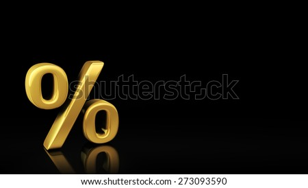 Gold percent symbol on black background with reflection and copyspace. Good for sale event poster with text - stock photo