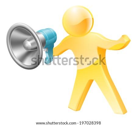 Gold person mascot megaphone concept. A person shouting down a megaphone or bullhorn. - stock photo