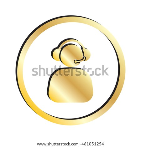 Gold Phone Operator with Headset Icon.  Raster Version - stock photo