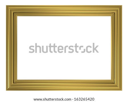 Gold picture frame. Computer generated 3D photo rendering. - stock photo
