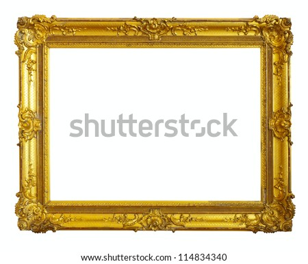 gold picture frame. Isolated over white background - stock photo