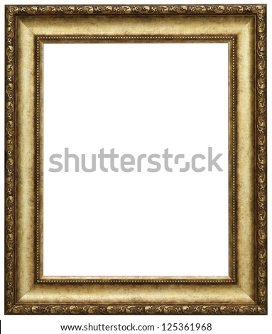 gold picture frame isolated patch and over white background