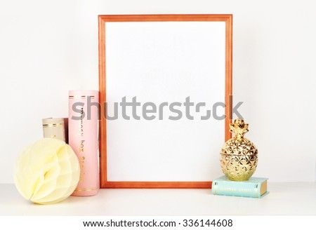 Gold Picture Frame With Decorations Mock Up For Your Photo Or Text Place Work