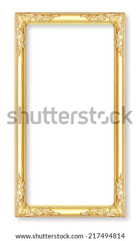 Gold picture frames. Isolated on white background - stock photo