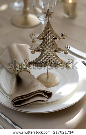 gold place setting for Christmas - stock photo