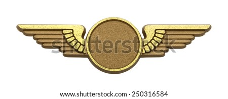 Gold Plastic Pilot Wings With Copy Space Isolated on White Background. - stock photo