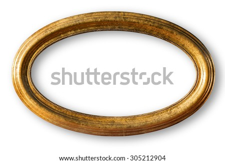 Gold plated wooden picture frame isolated on white with clipping path - stock photo