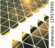 gold plates forming the triangular surface - stock photo