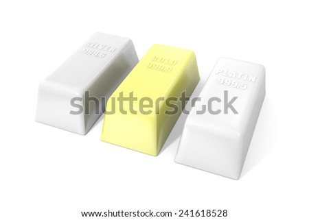 Gold, platinum and silver bullion on a white background - stock photo