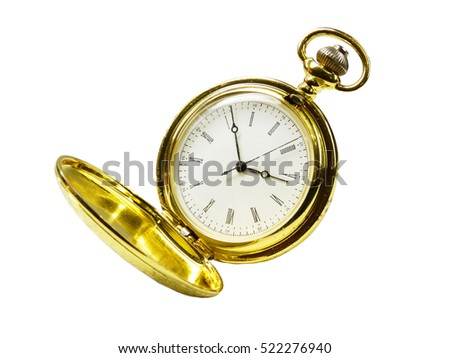 gold pocket watch on a white background. A photo