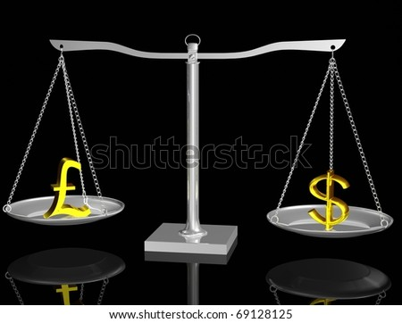 Gold Pound and Dollar on Silver balance on black isolated background - stock photo