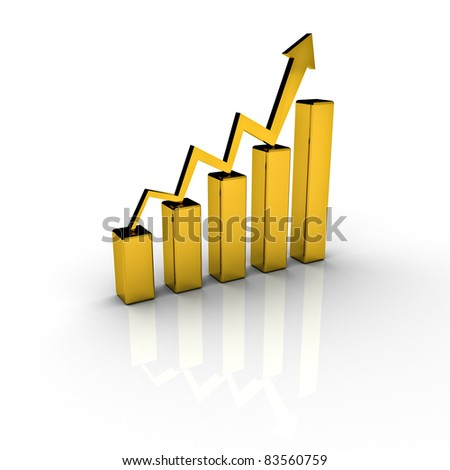 Gold price chart graph - stock photo