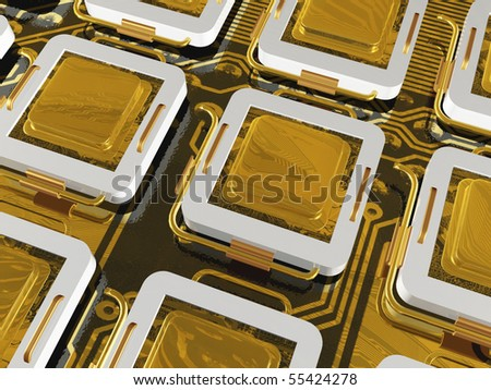 Gold processors on the motherboard.