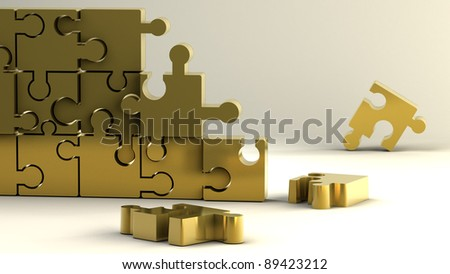 gold puzzle background High resolution 3D image