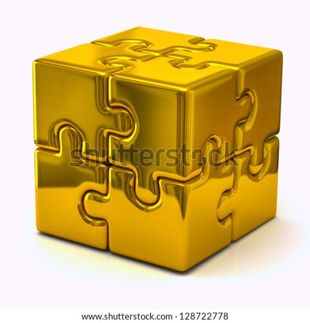 Gold puzzle cube - stock photo