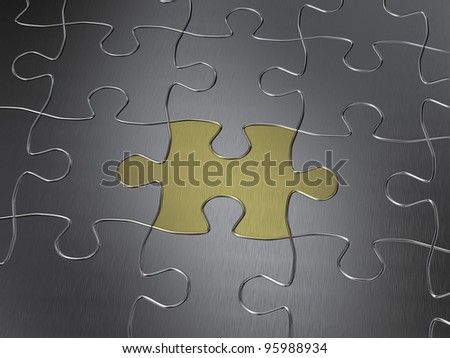 gold puzzle piece in a chrome jigsaw puzzle - stock photo