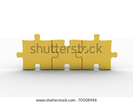 gold puzzle pieces - stock photo