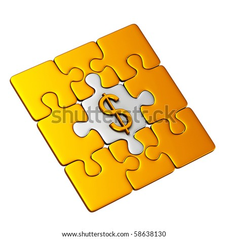 Gold Puzzle With Dollar Symbol - stock photo