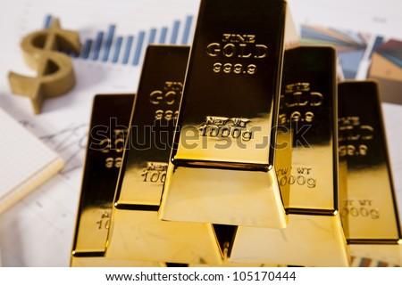 Gold Pyramid - stock photo