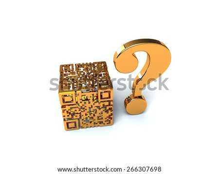 Gold QR cube - stock photo