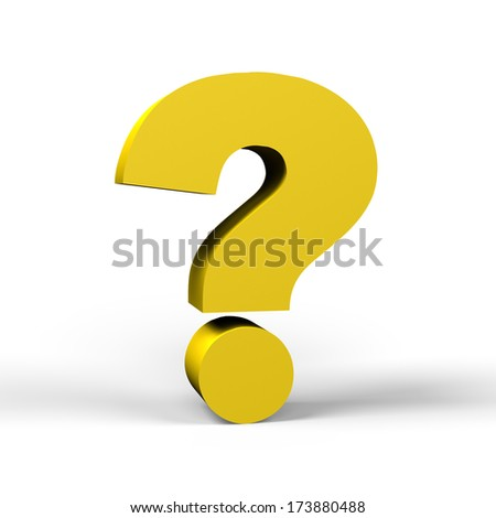 gold question mark symbol  on a white background