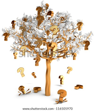 Gold questions sign grow on a tree. Frequently asked questions. Isolated on white background. 3d render - stock photo