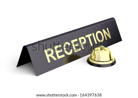 Gold reception bell and reception sign - stock photo